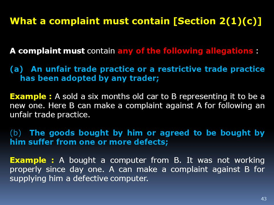 What a complaint must contain [Section 2(1)(c)]